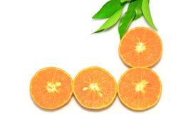 Orange mandarin- eller tangerinfrukter, med gröna sidor, isolat på vit bakgrund Royaltyfri Bild