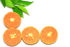 Orange mandarin- eller tangerinfrukter, med gröna sidor, isolat på vit bakgrund Royaltyfria Bilder