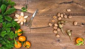 Orange mandarin fruits, walnuts and vintage accessories Stock Photos