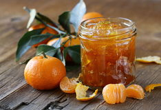 Orange mandarin homemade jam marmelade Royalty Free Stock Photos