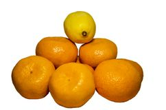 Orange mandarin, lemon isolated on white background stock photo