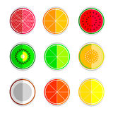 Orange mandarin lemon watermelon cantaloupe kiwi lime coconut grapefruit set icons Royalty Free Stock Photo