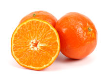 Orange mandarin or tangerine fruit isolated on white background Stock Images