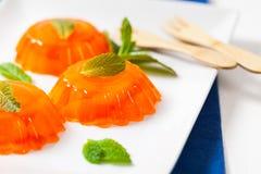 Orange Mandarin Tangerine Jelly Desserts. Mandarin Orange Jelly Summer Holiday Desserts. Selective focus stock image