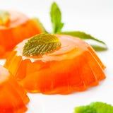 Orange Mandarin Tangerine Jelly Desserts. Mandarin Orange Jelly Summer Holiday Desserts. Selective focus royalty free stock photo