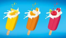 Orange Mandarine and raspberry fruit ice cream set isolated onwhite with clipping path. Orange Mandarine and raspberry fruit ice cream set isolated on white with Royalty Free Stock Images