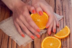 Orange manicure and oranges Royalty Free Stock Photos