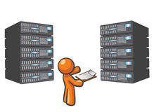 Orange Mann-Servers Stockbild