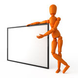 Orange mannequin. With white billboard Royalty Free Stock Photography