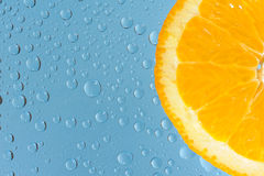 Orange with many water drops Royalty Free Stock Images