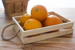 Orange. Many orange in wood basket royalty free stock image