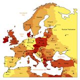 Orange map of Europe. Europe map of hot orange colors. Names, town marks and national borders are in separate layers. Vector illustration Stock Photography
