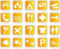 Orange map icon set Royalty Free Stock Photo