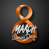 Orange March 8 greeting card. International Womans Day. vector. black background Stock Photo