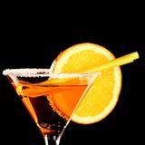 Orange margareta fresh Coctail isolated on black Royalty Free Stock Images