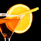 Orange margareta fresh Coctail isolated on black Royalty Free Stock Photos