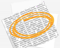 Orange mark on paper and text Stock Photography