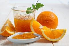 Orange marmalade. Jar of home made orange marmalade with fresh Orange Stock Images