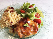 Orange Marmalade Chicken with Rice Stock Images