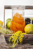 Orange marmalade in wooden basket Royalty Free Stock Images