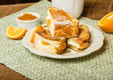 Orange marmalade stuffed toast Stock Photos