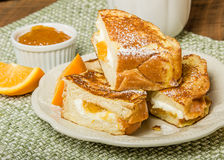 Orange marmalade stuffed toast Stock Photo