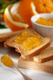 Orange marmalade on toast Royalty Free Stock Photos