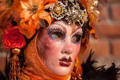 Orange masked woman portrait Royalty Free Stock Images