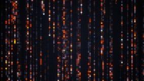 Orange matrix rain of digital HEX code Stock Image