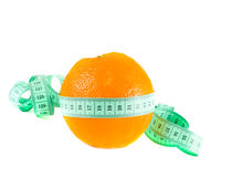 Orange with a measuring tape Stock Photos