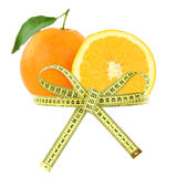 Orange with measuring tape Royalty Free Stock Image