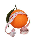 Orange with measuring tape Stock Photography