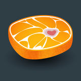 Orange with meat structure and bone in form heart Royalty Free Stock Image