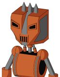 Orange Mech With Mechanical Head And Speakers Mouth And Angry Eyes And Three Spiked. Portrait style Orange Mech With Mechanical Head And Speakers Mouth And Angry vector illustration