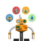 Orange Mechanic Robot with Indicators and Antennae. Mechanic robot with electronic indicators, colorful buttons and powerful antennas isolated vector royalty free illustration