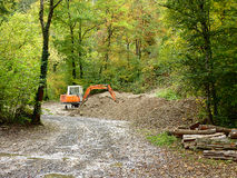 Orange mechanical digger in forest. Surrounded by trees Stock Images
