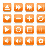 Orange media sign rounded square icon web button Stock Images