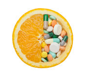 Orange and medicine Royalty Free Stock Image
