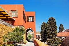 Orange mediterranean house in greece Royalty Free Stock Image