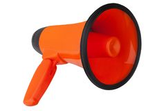 Orange megaphone on white background isolated close up, hand loudspeaker design, red loudhailer or speaking trumpet sign. Illustration, announcement or stock photo
