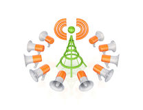 Orange megaphones around green antenna symbol. Royalty Free Stock Photos
