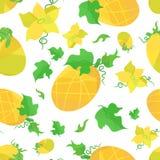 Orange Melonen und Blumen des nahtlosen Musters in der Origamiart Stockfotos
