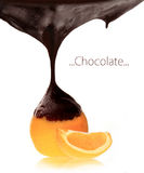 Orange with melting chocolate Stock Images