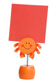Orange memo holder. Isolated on white background Stock Image