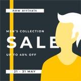 Orange Men collection. 40% Big sale special poster offer. Sale banner template design. Special offer design for web banner, poster royalty free illustration