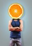 Orange men on grey Royalty Free Stock Images
