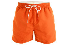 Orange men shorts for swimming. Orange and white men shorts for swimming isolated on white background Stock Photos