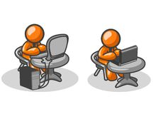 Orange men at work. An illustration of two orange men, working on a desktop computer and laptop computer at their desks. Part of a series Royalty Free Stock Photo