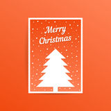 Orange merry christmas card with fir tree Stock Photography