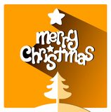 Orange Merry Christmas greetings card with tree and star. Merry Christmas cute flat lettering design greetings card. Long Shadow on orange warm background Royalty Free Stock Photo